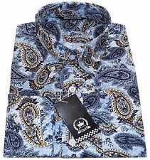 Relco Men's Blue Paisley Long Sleeved Button Down Collar Vintage Mod Shirt 60's