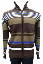 Men's Akademiks Brown with Blue and White Striped Zip Up Sweater