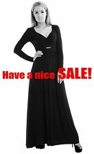 Elegant Maxi Dress Long Sleeve Black Empire Style Party Day Dress by MontyQ