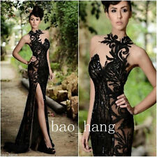 Beading Split Evening Dresses Black Mermaid Sequins Long Prom Gowns Real Images