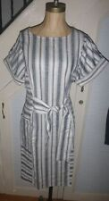 Asos Linen Striped Tie Front Dress in grey brand new with tags Size 6,8,12and14