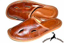 Mens Genuine Natural Leather Brown Handmade House Scuffs Slippers Slip On Size