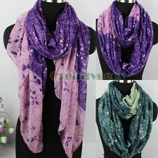 Fashion Women Butterfly Flower Print Gradient Viscose Long Shawl Infinity Scarf