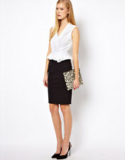 New KAREN MILLEN Black White Broderie Shirt Dress Pencil Peplum Wiggle DQ228