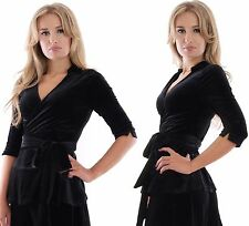 Ladies Elegant Wrap Top Spring Evening Party Wedding Black Velvet By MontyQ