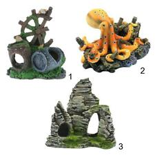 Barrel/Octopus/Mountain Ornaments for Aquarium Fish Tank Background DIY Decor
