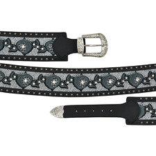Angel Ranch Western Womens Belt Leather Lace Crystals Stitch Flowers Black A3710