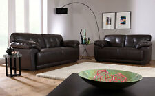 SIENNA Brown Leather 2 3 Seater Sofas Suite