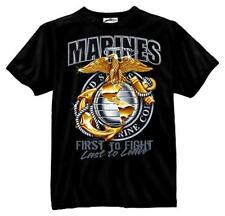 US Marine Corps T-Shirt USMC EG&A First To Fight Last to Leave BLACK S-3X