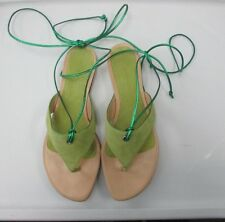 STRENESSE GABRIELE STREHLE Tan Lime Green Ankle Tie Sandals Size 38 B2590