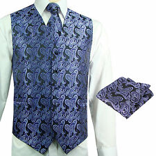 Purple / Black Paisley Tuxedo Suit Dress Vest Waistcoat & Neck tie & And Hankie
