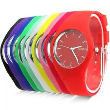 Women Jelly Dial Analog Silicone Band Sports Geneva Wrist Watch Quartz