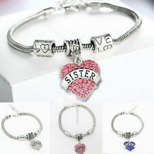 Sister Gifts Rhinestone Charm Pendant Silver Plated Love Heart Bracelet Bangle
