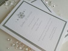 Personalised Christmas / Winter Silver Snowflake Wedding Orders of Service