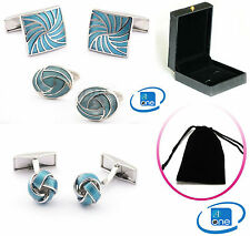 Royal Classic Spiral Enamel Luxury Cuff-links + Storage Pouch Or Gift Box