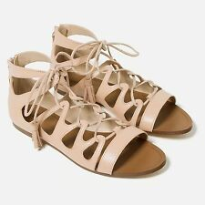ZARA Woman BNWT Authentic Nude Colour Flat Leather Roman Sandals Details 2592101