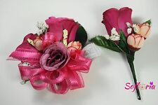 Purple Yellow Pink Red Rose Silk Boutonniere Corsage Wedding Prom Groom