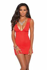Sexy Women Deep V Mini Red Criss Cross Strap and Ruched Back Dress Clubwear