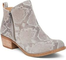 Lucky Brand Basel Grout Snake Suede Side Zip Low Cut Mettalic Ankle Bootie Boot