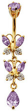 Belly Button Dangle Navel Bar Double Butterfly Drop CZ Crystals FREE VelvetPouch