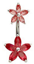 Belly Bar Silver Double Flower Navel Ring Crystals (6 Colours) FREE VelvetPouch