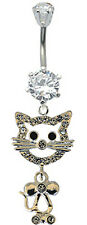 Silver Belly Button Dangle Navel Bar Ring Gem Cat Body Piercing FREE VelvetPouch