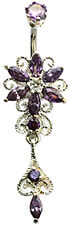 Silver Belly Button Ring Flower Dangle with CZ Crystal - FREE V.Bag