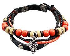 Double Black Leather Bracelet with Silver-Toned Grape Charm Mix Beads