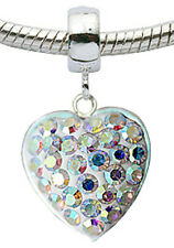 Silver Charm Heart with CZ Crystals Fits Euro Brand Bracelets - FREE Velvet Bag