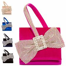 Ladies Designer Velvet Bow Clutch Bag Diamante Bow Evening Handbag Purse MW222