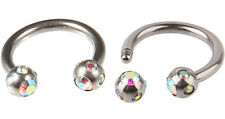 Surgical Steel 316L Circular Barbell with Aurora Gem Ball
