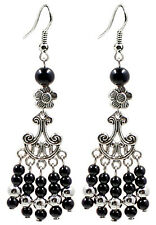 Hand Made Antique Silver Plated Dangle Earrings with Onyx Stones-FREE Velvet Bag
