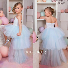 Hi Low Flower Girls Dress Strapless Lace Kids Birthday Pageant Gown Layers Skirt