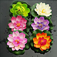 Artificial Lotus Foam Water lily Floating Flower Plant Decor Fish Pool Pond Tank