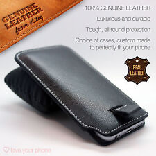 Genuine Leather Luxury Pull Tab Flip Pouch Sleeve Phone Case Cover✔HomTom Phones