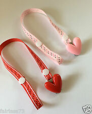 Love Heart Dummy  Pacifier Soother Clips ~ NEW ~ Choose your Colour Pink or Red