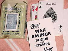 rare  WW II   323 BLUE RIBBON  vintage  PLAYING CARDS  -  RUSSELL - WAR BONDS