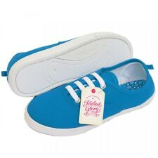 Girls Kids Boys Turquoise lace up pumps Canvas Shoes Plimsolls Trainers Casual