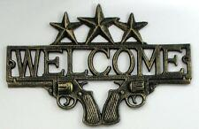 """Pistols Welcome Sign Cast Iron 13-1/4"""" Western Cowboy FREE SHIPPING"""