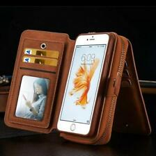For iPhone 7 6S Plus Genuine magnetic flip Leather Multi Purse Wallet Case cover
