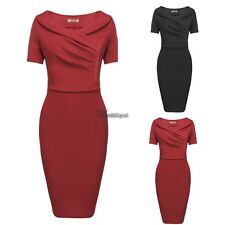 Women Casual Vintage Style Ruched Party Cocktail Slim Dress WT8801