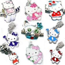 Girls Hello Kitty Charm Beads Pendants Fit Silver European Style Charm Bracelets