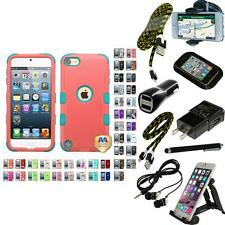 For iPod Touch 5th 6th Gen TUFF IMPACT Phone Case Hard Rugged Cover + Bundle