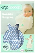ERGO COCOON BABY SWADDLE - TRIBAL BLUE - ZIP UP ERGO POUCH WRAP 0.2TOG ORGANIC