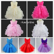 Baby Girls Party Wedding Pageant Communion Princess Christening Tutu Dress Bows