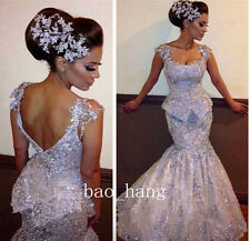 Silver Sparkles Appliques Evening Dress Prom Mermaid Formal Party Gown Open Back