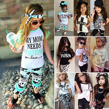 2017 Toddler Kids Girls Tops T-shirt + Pants Legging Trouser Outfits Clothes Set