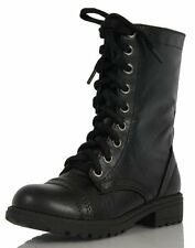 Girls Black Combat Lace-Up Riding Mid-Calf Boots Soda Relax Black PU 9
