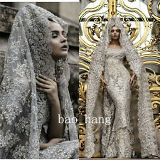 Luxury Sequined Arabic Wedding Bridal Gowns Silver Appliques Beads Muslim +Veil