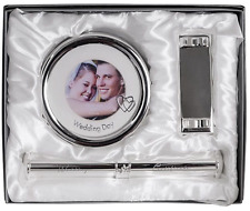 NEW SILVER PLATED SET ROUND WEDDING FRAME 3X3 CERTIFICATE HOLDER AND STAND GIFT